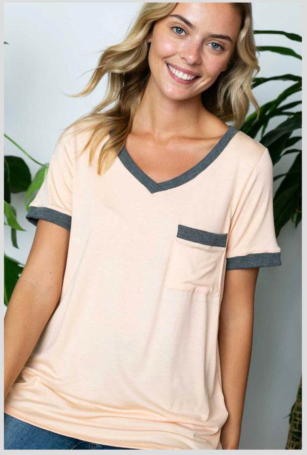 CP-O {Lovely Afternoon} Peach Charcoal Tee With Front Pocket SALE!! PLUS SIZE XL 2X 3X