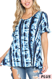 49 PSS-A {Calming Waters} Navy Blue Bamboo Tie Dye Top PLUS SIZE XL 2X 3X