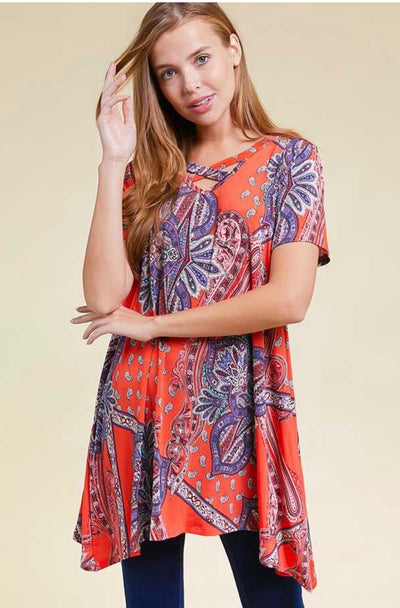 48 PSS-F {Hello Lovely} Orange Paisley Print Cross Neck Tunic PLUS SIZE XL 2X 3X