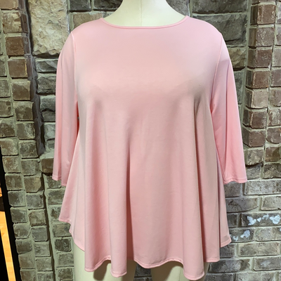 11-13 SLS-J {Simple Day} Pink Solid Tunic EXTENDED PLUS SIZE 3X 4X 5X