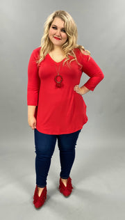 22 SQ-Q {Stay With You} SALE!!  Red V Neck Tunic PLUS SIZE XL 2X 3X