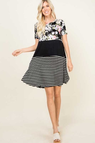 52 CP-E (Floral Pathway) Black Floral/Stripe Dress 3X4X5X Plus Size