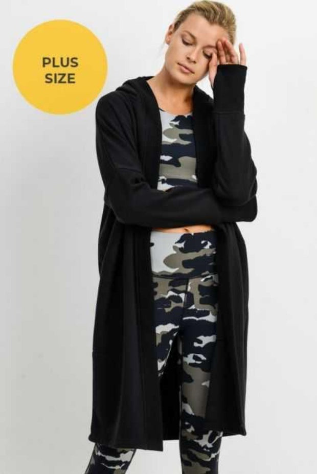 24 OT-A {Timeless Love} SALE!!  Black Hooded Cardigan PLUS SIZE XL/2X 2X/3X