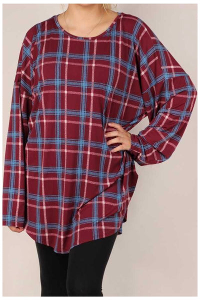 PLS-I {Play It Back} Maroon Blue Plaid Long Sleeve Tunic EXTENDED PLUS SIZE 3X 4X 5X