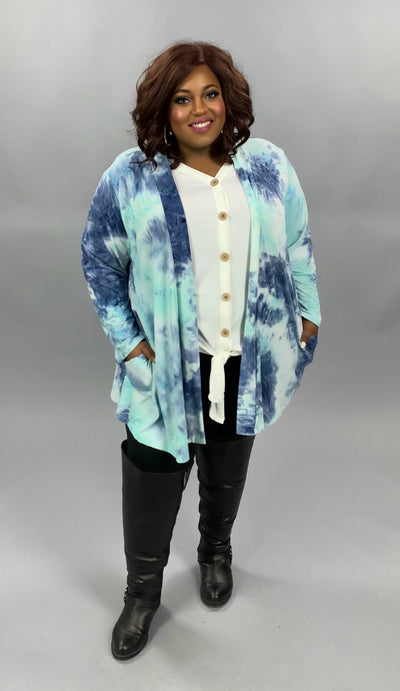 OT-B {My Saving Grace} Mint & Blue Tie Dye Cardigan BUTTER SOFT EXTENDED PLUS SIZE 4X 5X 6X