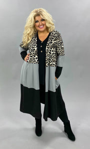 10-21 OT-S {Need A Moment} Silver Leopard Blk Contrast Duster CURVY BRAND EXTENDED PLUS SIZE 3X 4X 5X 6X