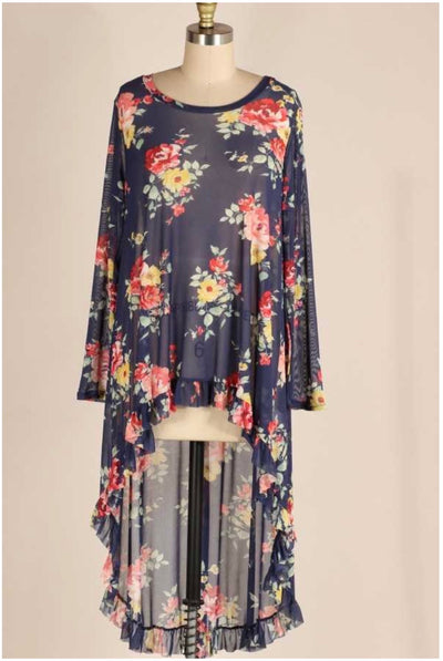 LD-A {Double Take} Navy Sheer Floral Hi-Low Tunic PLUS SIZE XL 2X 3X