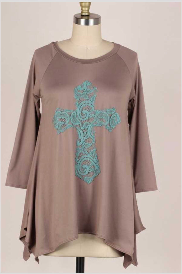 32 GT-B {Don't Cross Me} Mocha Teal Cross Detail Top PLUS SIZE XL 2X 3X