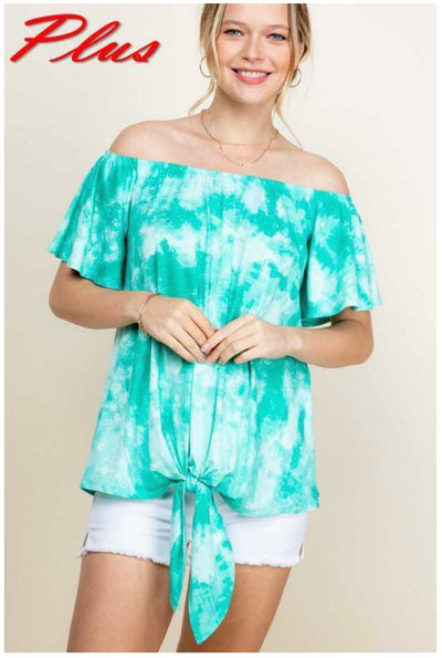65 PSS-R {Seaside Celebration} Teal Tunic w Tie Detail PLUS SIZE 1X 2X 3X