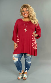 PQ-Y {Power Of Love} Burgundy Tunic with Tie-Dye Detail SALE!!