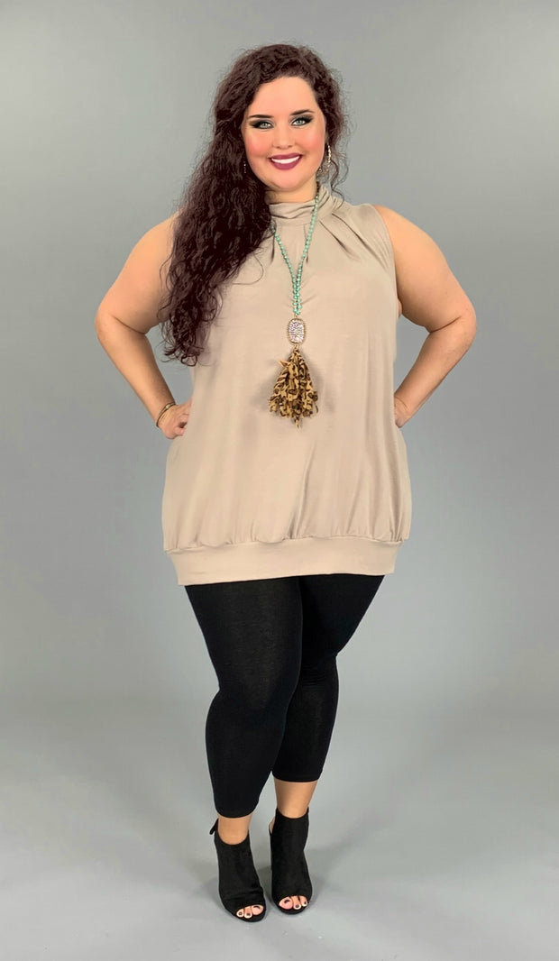 SV-A (Effortless Fun) Ash Mocha Pleated Tunic With Banded Hem PLUS SIZE 1X 2X 3X