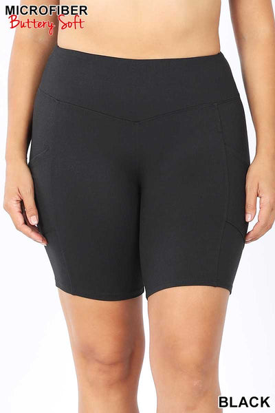 54 BT-H {Get Inspired}  Black Bike Shorts w Pockets