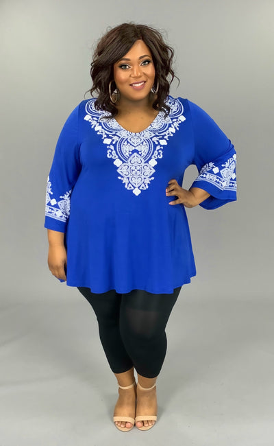 SD-Z (Girls Trip) Blue V-Neck Tunic W/ Crochet Detail EXTENDED PLUS 3X 4X 5X 6X