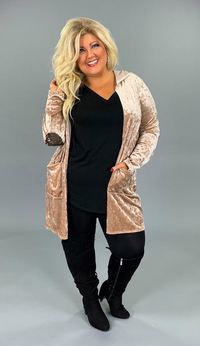 OT-O Sandstone Velvet Cardigan with Pockets & Elbow Patch