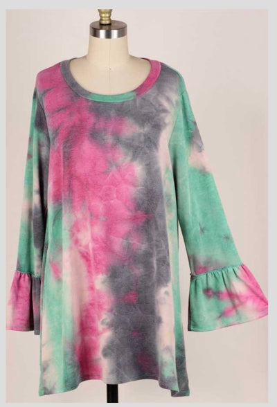 PLS-V {To Be Expected} Green Pink Tie Dye Knit Tunic EXTENDED PLUS SIZE 4X 5X 6X