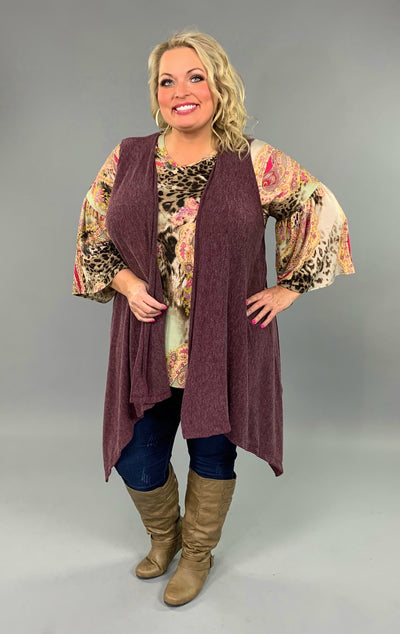 OT-M {Right Along With You} Plum Asymmetrical Knit Vest