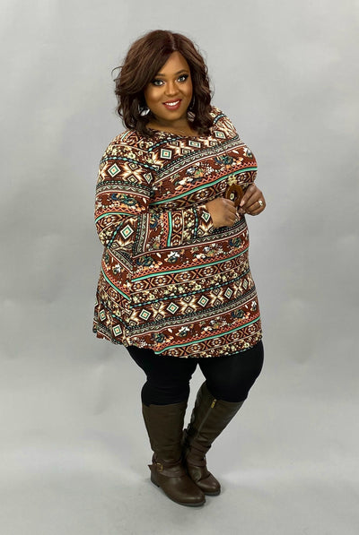 10-06 PLS-C {Happier Together} Brown Mint Tribal Print Top EXTENDED PLUS SIZE 3X 4X 5X