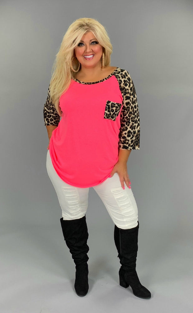 53 CP-E {Must Be Magic} Pink Tunic with Leopard Contrast Curvy Brand Extended Plus 3X 4X 5X 6X