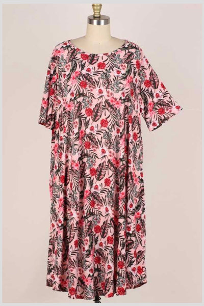 65 PSS-H {Seeking Paradise} Pink Tropical Floral Dress EXTENDED PLUS SIZE 3X 4X 5X