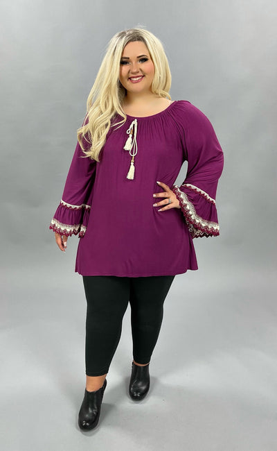 SD-K Plum Tunic SALE!!  with Lace Detailed Bell Sleeves