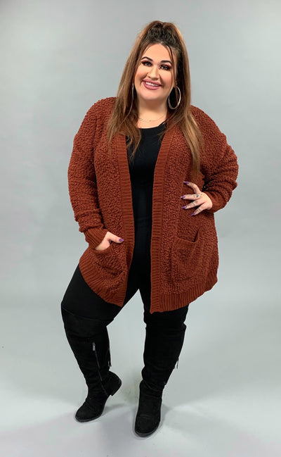 OT-C {Falling For You} Rust Popcorn Cardigan with Pockets