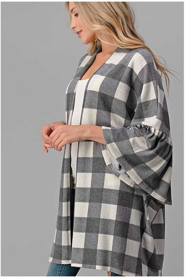 17 OT-M {Lucky One} SALE!!  Grey Plaid Cardigan EXTENDED PLUS SIZE 4X 5X 6X