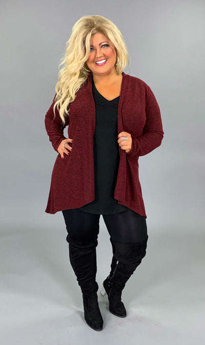 OT-L {Warm Embrace} Mahogany Knit Two Tone Cardigan