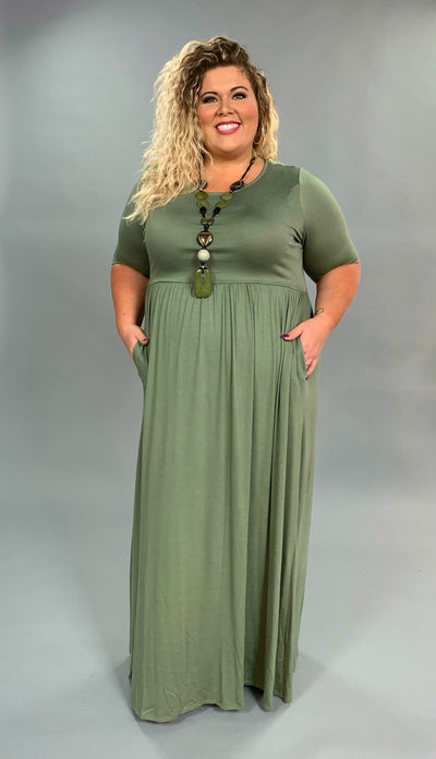LD-M {Dreaming Of Tomorrow} Olive Maxi Dress with Pockets  SALE!!