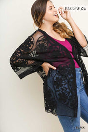 "51 OT-A {Lovely Lace}  ""Umgee"" Black Lace Cardigan Plus Size XL 1X 2X"