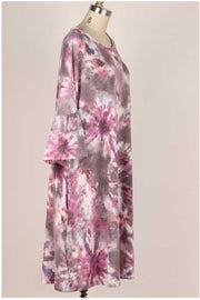10-01 PQ-X {I Spy Tie Dye} SALE!! Purple Grey Tie Dye Dress EXTENDED PLUS SIZE 4X 5X 6X