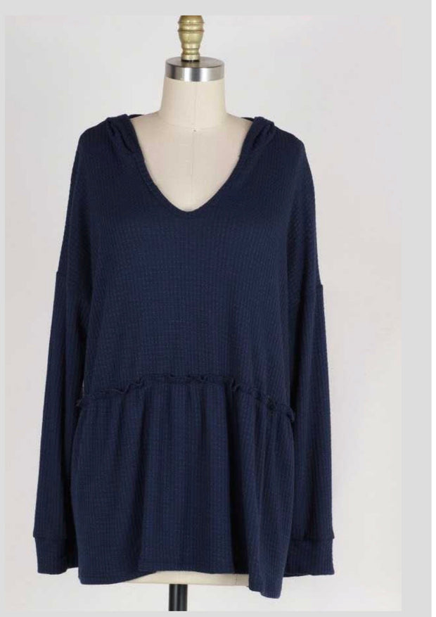 HD-O {Easy Living} Navy Waffle-Knit V-Neck Tunic w/Hood Extended Plus