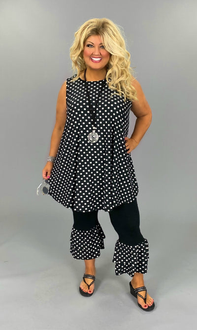 SET-Z {Polka Dot Party} Black Polka Dot Tunic Capri Ruffle Hem PLUS SIZE 1X 2X 3X 4X 5X 6X SALE!! CURVY BRAND