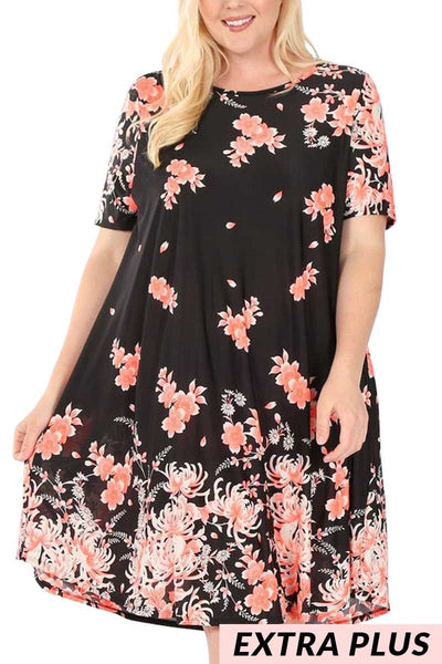 PSS-J/Z {Key Of Life} Black/Coral Floral Dress EXTENDED PLUS SIZE 3X 4X 5X