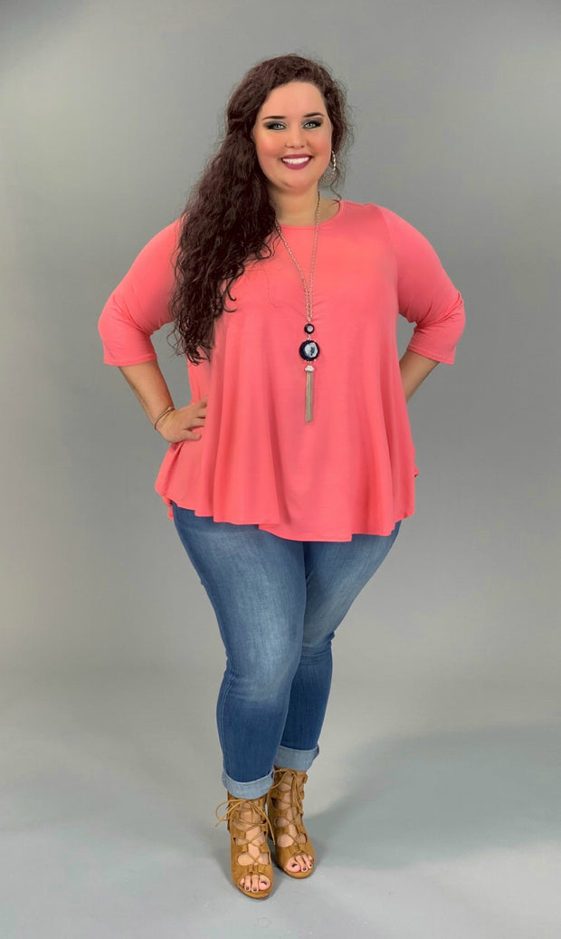 SQ-T (Freely Me) Blush Tunic With 3/4 Sleeve EXTENDED PLUS 3X 4X 5X
