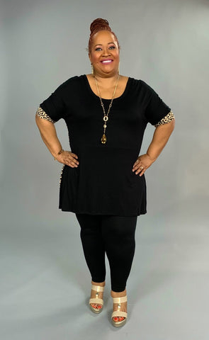 CP-S {Bring It On} Black/Leopard Print Contrast Hi-Lo Tunic