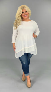 SQ-G (Sophisticated Girl) CREAM Tunic With Sheer Detail PLUS SIZE 1X 2X 3X (FLASH SALE)