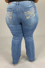 BT-F (Don't Let Go) Light Wash Denim W/ Detail Pockets Jeans EXTENDED PLUS SIZE 18 20 22 24