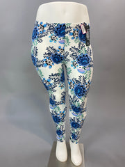 PSS/14- White Leggings with Blue Floral Print Design