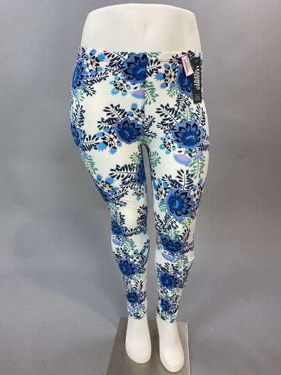 LEg-Z White Leggings with Blue Floral Print Design