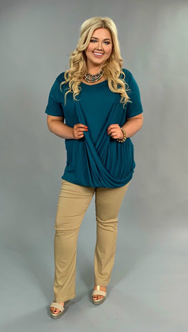 SSS-K {Go Figure} Teal V-Neck Top with Overlap Detail