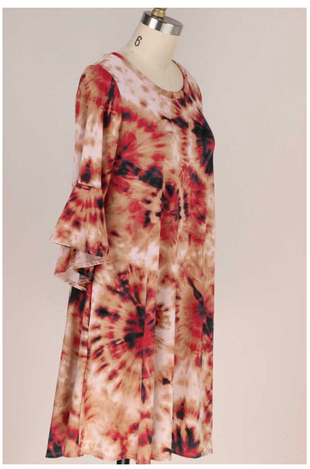 PQ-D {Be True To You} Red Tan Tie Dye Bell Sleeve Dress PLUS SIZE XL 2X 3X