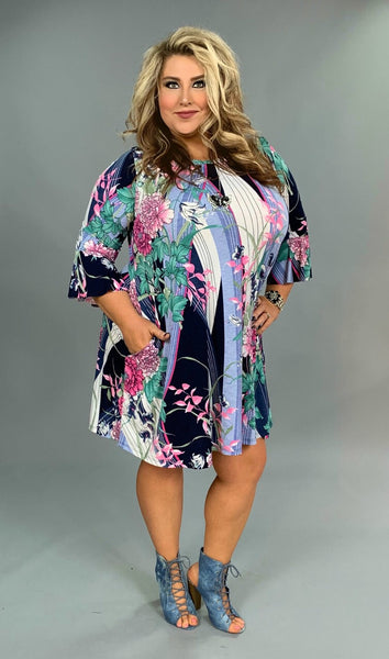 PQ-U {Bring On The Rain} Floral Print Dress with Pockets