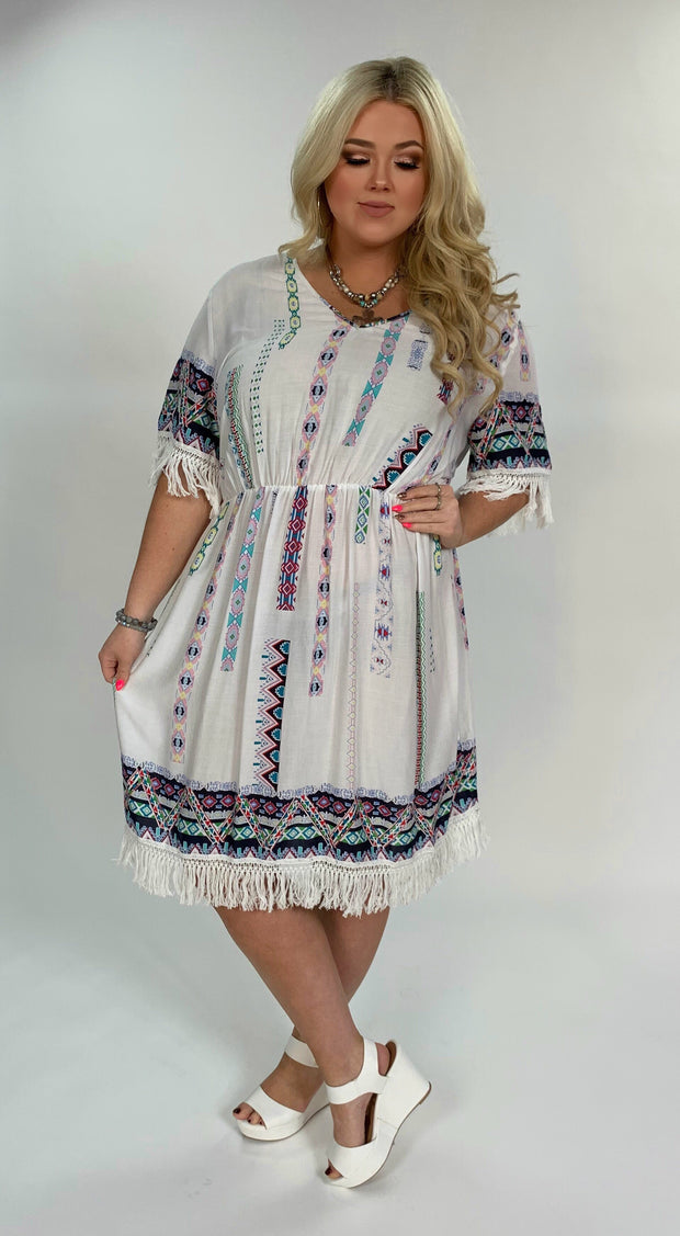 PSS-D {Fly Like An Eagle} Ivory Aztec Print Dress with Fringe Extended Plus