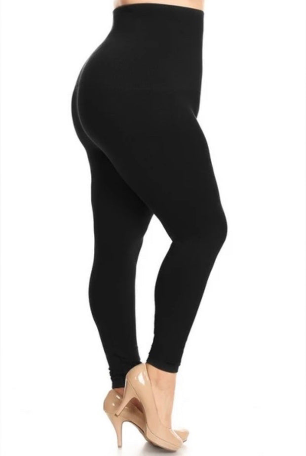 LEG-24/Y/L/I {Basic Need} **TUMMY CONTROL** Black Knit Leggings PLUS SIZE