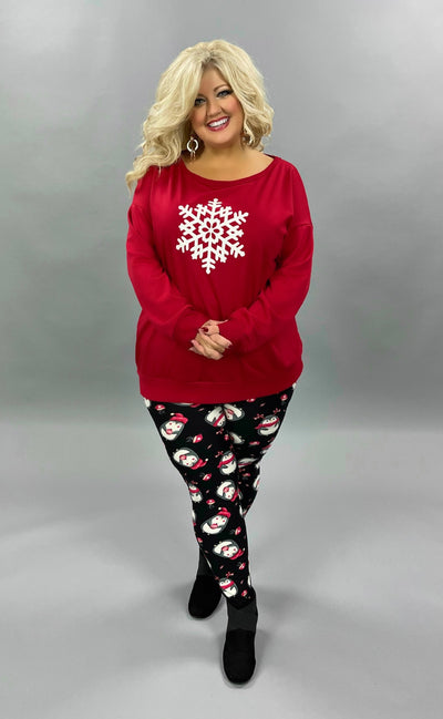 36 GT-B {Snow Unique} SALE!!  Red White Snowflake Top PLUS SIZE XL 2X 3X