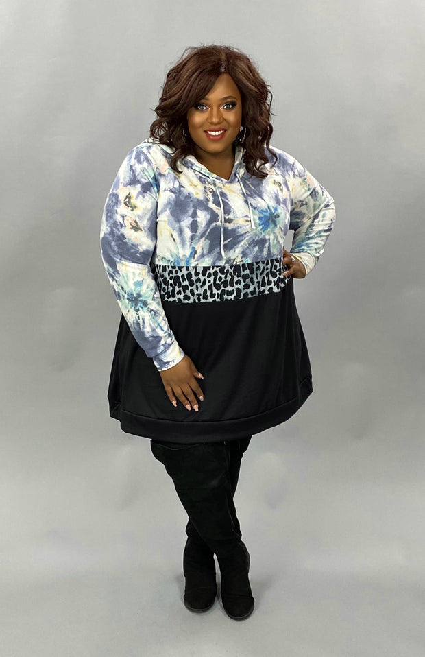 17 HD-E {Focus On It} Blue Tie Dye Leopard Detail Hoodie EXTENDED PLUS SIZE 4X 5X 6X