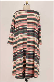 48 PQ-E {Brighter Horizons} Green Rose Beige Stripe Dress EXTENDED PLUS SIZE 3X 4X 5X