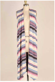 OT-Y {Groovy Baby} Pink/Blue/Gray Striped Vest PLUS SIZE 1X 2X 3X