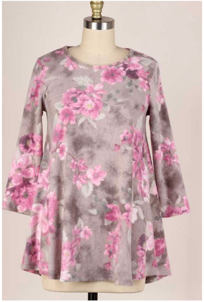 48 PQ-C {Full Bloom} Mocha Magenta Flower Print Soft Knit Top PLUS SIZE XL 2X 3X