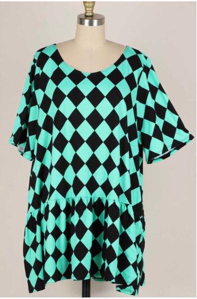54 PSS-F {Mint Checkerboard} Mint & Black Geo Tunic Extended Plus Size 3X 4X 5X